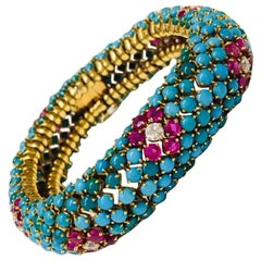 Retro Turquoise Ruby and Diamond Bracelet