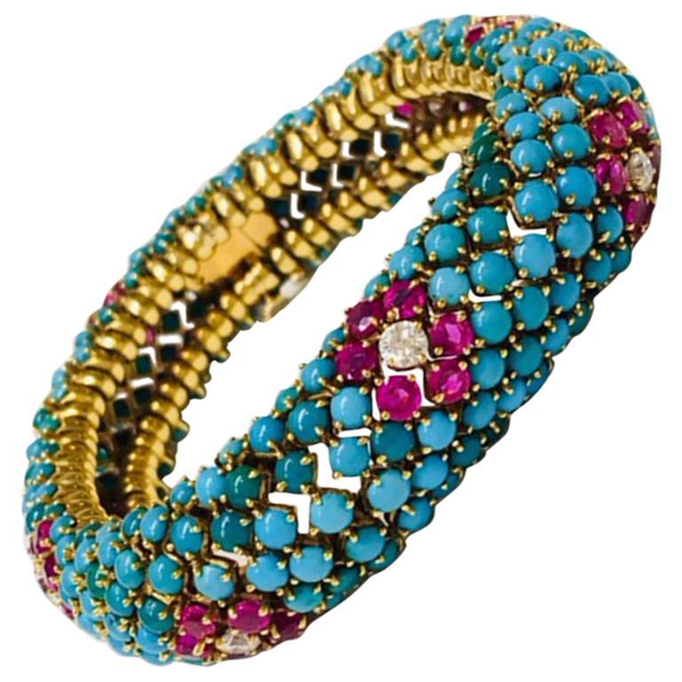 Retro Turquoise Ruby and Diamond Bracelet