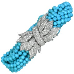 David Webb Turquoise and Diamond Bracelet