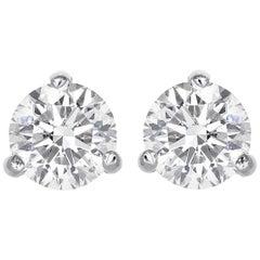 3.13 Carat Round Brilliant Cut Diamond Stud Earrings