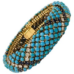 18 Karat Yellow Gold Turquoise and Sapphire Retro Bracelet