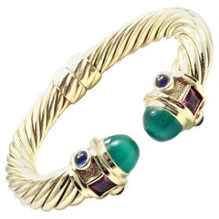 David Yurman Renaissance Green Onyx Tourmaline Yellow Gold Bangle Bracelet