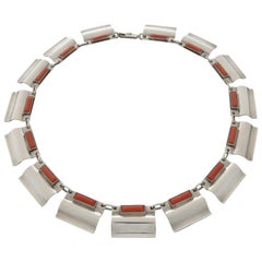 1930s Otto Stüber German Art Deco Coral Silver Necklace