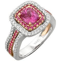Pink Sapphire Diamond White and Rose Gold Ring