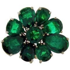 17.32 Carat Emerald Platinum Flower Ring