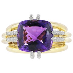 David Webb Amethyst and Diamond Cuff Bracelet