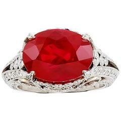 Platinum 9.04 Carat Ruby and Diamond Ring