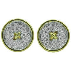 Pair of Gold and Diamond Button Earrings