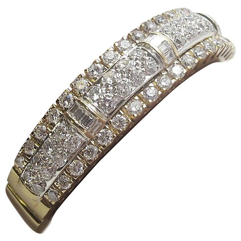 10.00 Carat Diamond Bangle 18 Karat Yellow Gold Bracelet