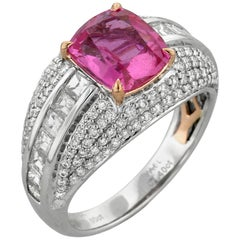 Pink Sapphire Diamond White and Rose Gold Dome Ring