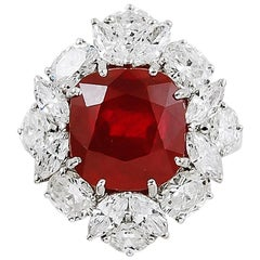 7.33 Carat Burma Ruby and Diamond Ring