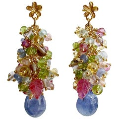 Tanzanite, Pink/Blue Topaz, Zircon, Amethyst, Peridot, Citrine Cluster Earrings