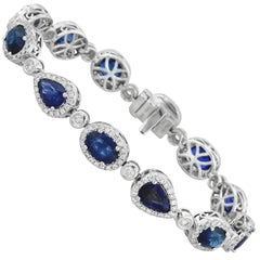 Sapphire Diamond and White Gold Halo Tennis Bracelet