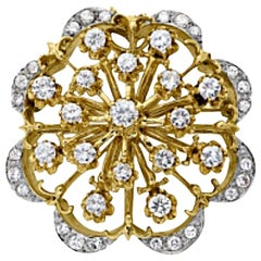 Vintage Diamond Starburst style Pin/Pendant Made From 14K White and Yellow Gold