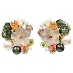 Santagostino Floral Earrings with Pearls, Diamonds and Gemstones