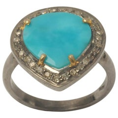 Turquoise and Pave` Diamond Ring