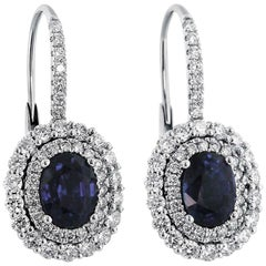 Sapphire Diamond and White Gold Drop Earrings