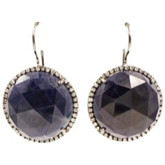Faceted Round Sapphire Drop Earrings