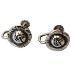 Georg Jensen Sterling Silver Flower Earscrews No 68
