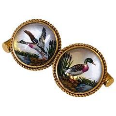 14 Karat Yellow Gold Mallard Ducks Cufflinks