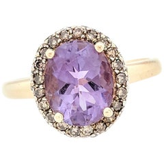 14 Karat Yellow Gold 2.40 Carat Amethyst and Champagne Diamond Halo Ring