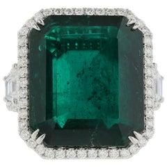 Platinum 27.00 Carat Colombian Emerald and Pink Diamond Ring