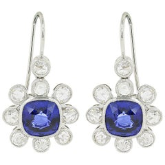 Platinum Sapphire and Diamond Vintage Style Drop Earrings