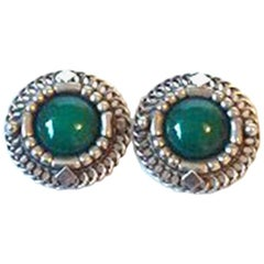 Georg Jensen Sterling Silver Earrings with Chrysoprase No 85