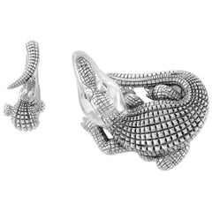 Sapphire Silver Curled Alligator Open Jaw Belt Buckle by John Landrum Bryant