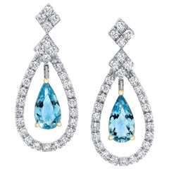 2.63 Carat Pear Aquamarine and 1.51 Carat Round Diamond 18 Karat Gold Earrings