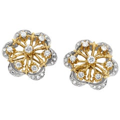 Vintage Starburst Style Diamond Earrings made from 14K White and Yellow Gold