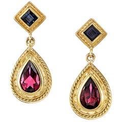 3.82 Carats Pink Tourmaline & .56 Carats Blue Sapphire 18K Yellow Gold Earring