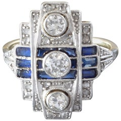 1920s Art Deco Diamond Blue Sapphire White Yellow Gold Cocktail Ring