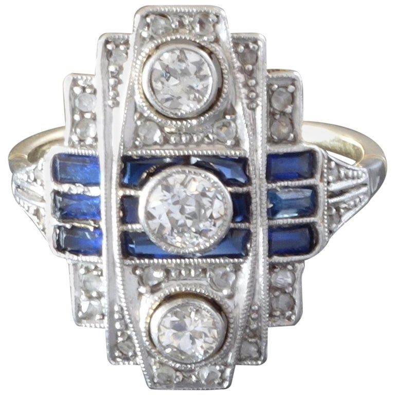 1920s Art Deco Diamond Blue Sapphire White Yellow Gold Cocktail Ring