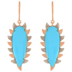 Meghna Jewels Claw Drop Earrings Turquoise and Alt Diamonds