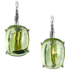H & H 5.47 Carat Peridot Lever-Back Earrings