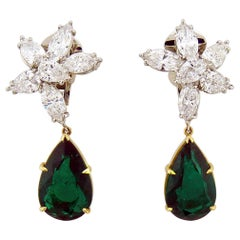 8.27 Carat Pear Shape Emerald and Diamond 18 Karat Two-Tone Gold Earrings
