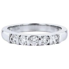 0.50 Carat Diamond White Gold Band Ring