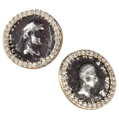 Coomi 20K Antique Coin Earrings with Pavé Diamonds