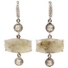 Natural Silver Diamond Drop White Gold Earrings