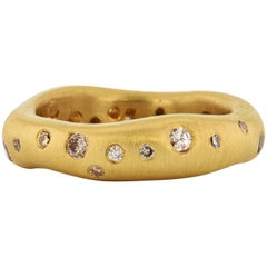 H & H 0.32 Carat Brushed Yellow Gold Band Ring