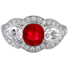 Platinum Three-Stone Ruby and Diamond Ring