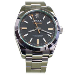 Rolex Green Milgauss 116400 Stainless Steel Box and Papers Open Card