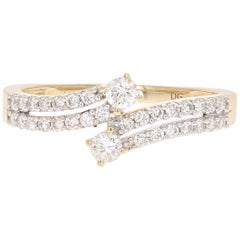 0.46 Carat Two-Stone Diamond 14 Karat Yellow Ring