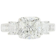 GIA Certified 2.53 Carat F VS2 Cushion Cut Three-Stone Diamond Engagement Ring