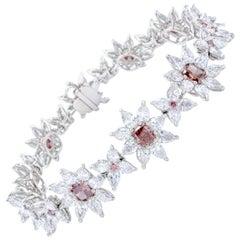 David Rosenberg 13 Carat Fancy Deep Pink/Orangy Pink Argyle GIA Diamond Bracelet