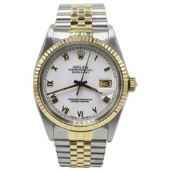 Rolex Datejust 16013 White Roman Dial 18 Karat Yellow Gold and Stainless Steel