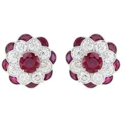 2.16 Carat Ruby and Diamond Earrings