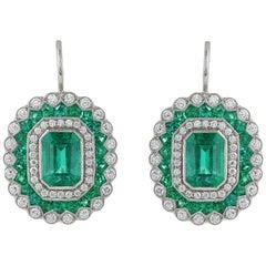 Platinum 2.02 Carat Emerald and Diamond Drop Earrings