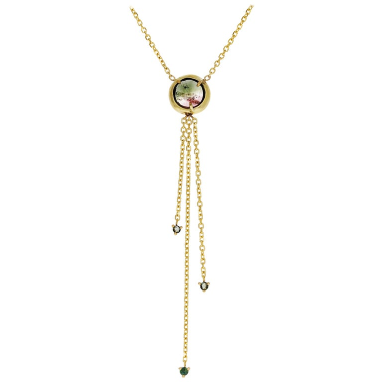 Zahra 18 Karat Yellow Gold Rose-Cut Tourmaline Necklace For Sale